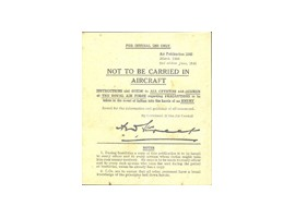 'Not to be carried' Booklet
