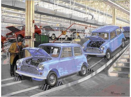 First Mini's at Longbridge 1959